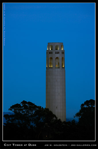 Coit Tower at Dusk San Francisco cityscape photo by Jim M. Goldstein