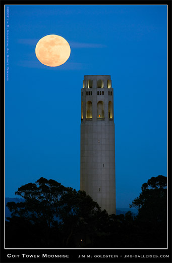 Coit Tower Moonrise San Francisco cityscape photo by Jim M. Goldstein