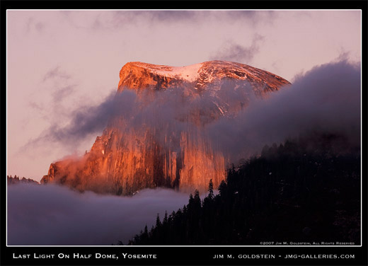 Last Light on Half Dome, Yosemite landscape photo by Jim M. Goldstein