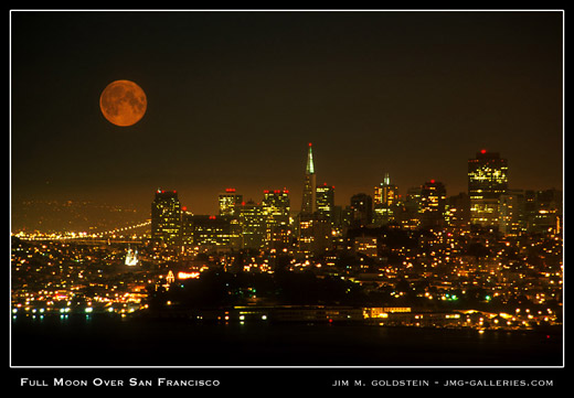 Full Moon Over San Francisco photographed by Jim M. Goldstein